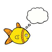 Stock Illustration of cartoon fish with thought bubble