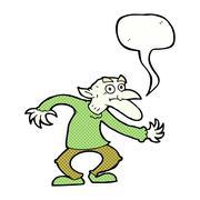 Stock Illustration of cartoon goblin with speech bubble