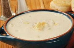 new england style clam chowder - stock photo