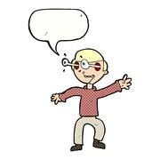 cartoon amazed boy with speech bubble - stock illustration