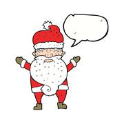 cartoon grumpy santa with speech bubble - stock illustration