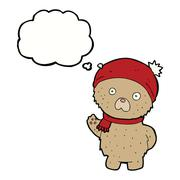 Stock Illustration of cartoon teddy bear in winter hat and scarf with thought bubble