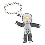 Stock Illustration of cartoon astronaut with speech bubble