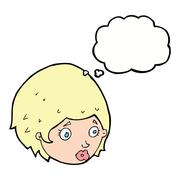 Cartoon girl with concerned expression with thought bubble Stock Illustration