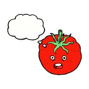 Stock Illustration of cartoon tomato with thought bubble