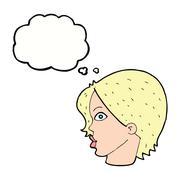cartoon female face staring with thought bubble - stock illustration