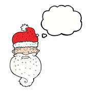 Stock Illustration of cartoon grim santa face with thought bubble