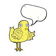 Stock Illustration of cartoon bird waving wing with speech bubble