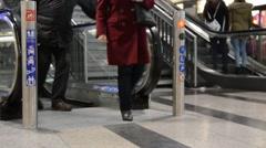 Escalator, people,legs Stock Footage
