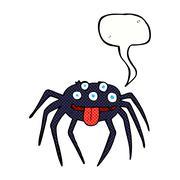 cartoon gross halloween spider with speech bubble - stock illustration