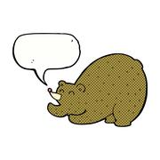 Stock Illustration of cartoon stretching bear with speech bubble