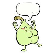 Stock Illustration of a nice pear cartoon with speech bubble