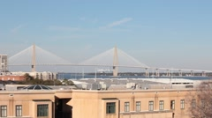 View of the Arthur Ravenel Jr Bridge from across building tops Stock Footage