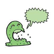 Cartoon gross ghost with speech bubble Stock Illustration