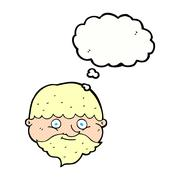 Stock Illustration of cartoon bearded man with thought bubble