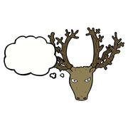 Stock Illustration of cartoon stag head with thought bubble