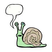 Stock Illustration of cartoon snail with speech bubble