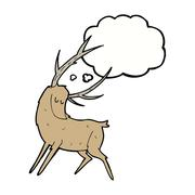 cartoon stag with thought bubble - stock illustration