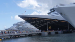 Tourst entering and leaving cruise ships Stock Footage