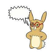 Stock Illustration of cartoon rabbit wearing spectacles with speech bubble