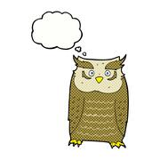 Stock Illustration of cartoon owl with thought bubble