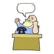Stock Illustration of cartoon arrogant boss man with speech bubble