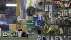 Key display on wall at shop Stock Footage