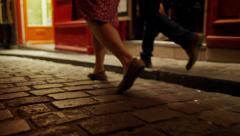 People Walking Cobblestone Streets Paris Night, 4K Stock Video Footage Stock Footage