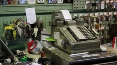 Vintage Cash Register at a Local Key Shop Arkistovideo