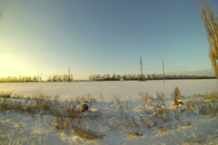 4K. Beautiful winter sunrise on the highway. Ultra HD. 3840x2560 Stock Footage