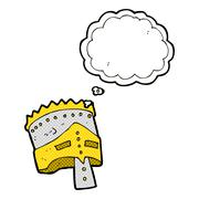 cartoon king's armor with thought bubble - stock illustration