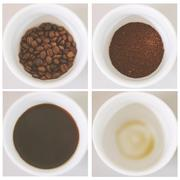4 step for fresh hot coffee with retro filter effect Stock Photos