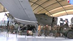 The Douglas C-47 plane Argonia, Airborne Museum, Sainte-Mère-Église, Normandy. Stock Footage