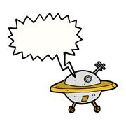 Stock Illustration of cartoon flying saucer with speech bubble