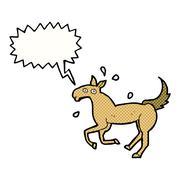 cartoon horse sweating with speech bubble - stock illustration
