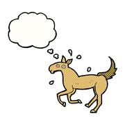 cartoon horse sweating with thought bubble - stock illustration