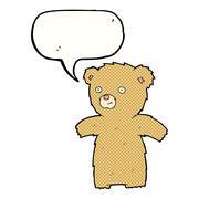 Stock Illustration of cartoon teddy bear with speech bubble