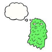 Stock Illustration of cartoon gross ghost with thought bubble