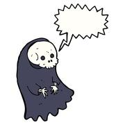 cartoon spooky ghoul with speech bubble - stock illustration