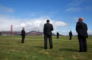 July 23, 2014 Surrounded by Secret Service agents, the President views the Go Stock Photos