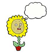 cartoon flower with face with thought bubble - stock illustration