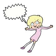 cartoon crazy excited girl with speech bubble - stock illustration
