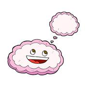 Stock Illustration of cartoon decorative cloud with thought bubble