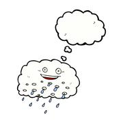 cartoon rain cloud with thought bubble - stock illustration