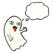 Stock Illustration of funny cartoon ghost with thought bubble