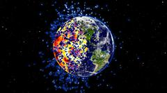 Earth exploding after a global disaster, Apocalypse asteroid impact globe. Stock Illustration
