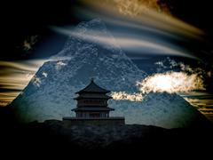 Buddhist Temple in mountains Stock Illustration