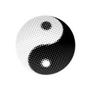 Yin Yang dotted halftone pattern background - stock illustration