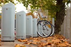 Stock Photo of Station of urban bicycles for rent