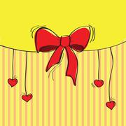 Greeting card with the bow Stock Illustration